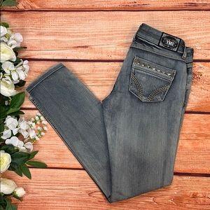 YMI Grey Acid Washed Mid Rise Straight Leg Jeans